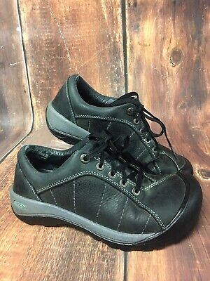 398f050baeaf Keen Black Leather Lace up Presidio Hiking Walking Shoes Women s Size 6.5