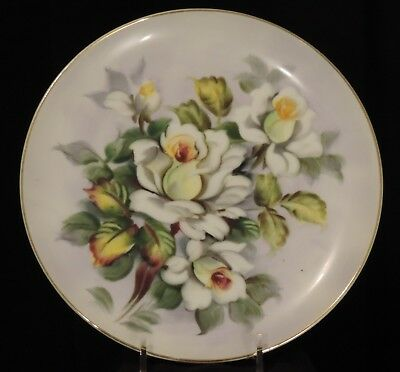 "Lefton China Plate 8"" Hand Painted Yellow / Silver Roses SL2816 Gold Vintage 50s"