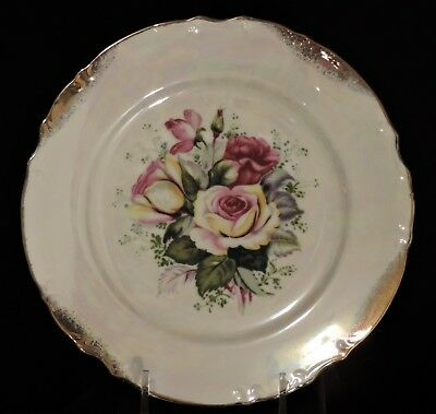 Nasco Japan Hand painted Roses on Iridescent background and gold splattered trim
