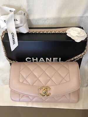 Authentic Chanel Light Pink Calfskin Bag