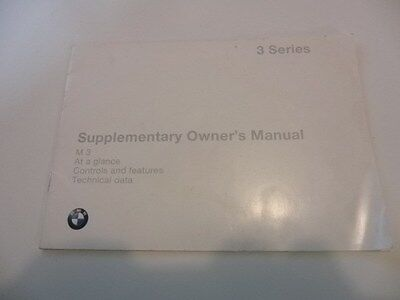 Bmw E36 M3 Supplimentary Owners Manual For M3  Very Good Condition