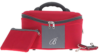 Beauty Case Elephant Spear Toilet Vanity Cosmetic Case with Extra Pad Pocket RED