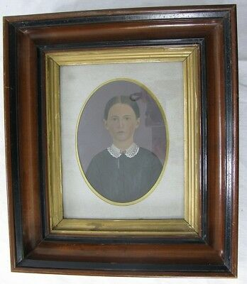 Child? Young Woman Antique Portrait Oil on Tin in Eastlake Frame 19th Century