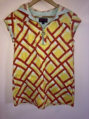 b5aa66857f925 Tracy Feith For Target Linen Mod Dress XS Tunic Cover Up Hooded Pullover