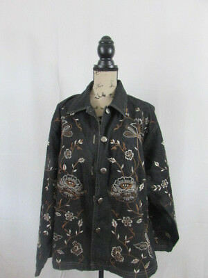 New Direction Embroidered Flowers Black Cotton Jacket Extra Large XL Womens