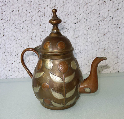 Antique HAMMERED ETCHED copper silver & brass tea / coffee pot tin-lined MEXICO