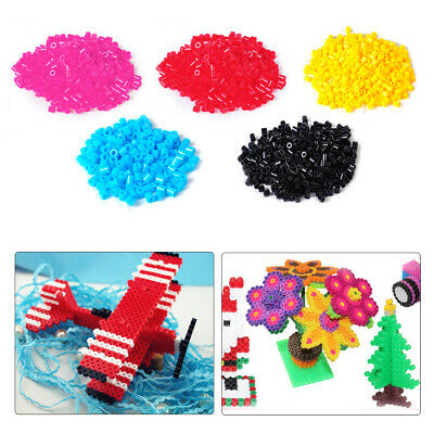 DIY 1000pcs 5mm Fun Fusion Fuse Refill Beads Craft Toy Solid Color Kids Children