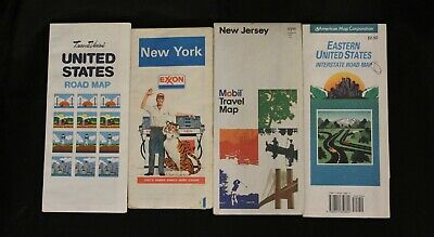 Lot of 4 Vintage Folding Road Maps from 1980 forward - Exxon and Mobil