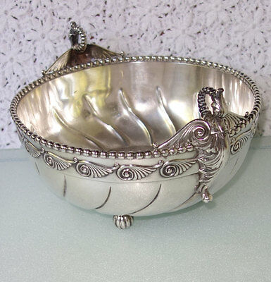 RARE 1860s antique Middletown Silver QUADRUPLE PLATE Bowl Hard White Metal GILT