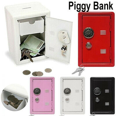 """Safe Money Box Bank Metal 2 Keys With Combination Lock Coins Cash Security 4""""X7"""""""