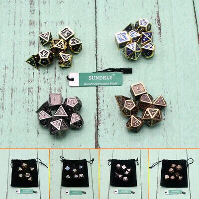 7 X Antique Metal Polyhedral Dice DND RPG MTG Role Playing Game With Bag Set New