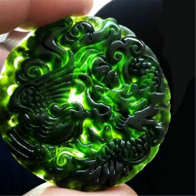 1pc Chinese Natural Black Green Jade Pendant Dragon&Phoenix Good Lucky Amulet