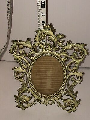 Antique Ornate French Victorian Oval Picture Frame  7.5 X 10.5 Hinged Stand