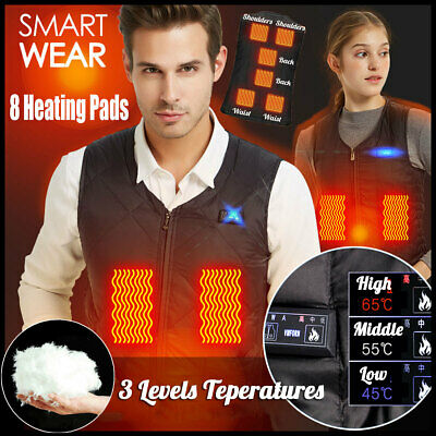 Men Heated USB Sleeveless Vest Jacket 8 Heating Pads Winter Warm Outdoor Coat AU