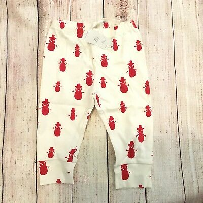 Baby Gap Girls 6-12 Month Ivory Red Snowman Print Skinny Knit Pants Joggers NWT