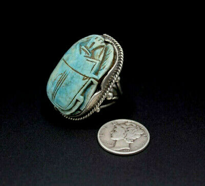 Antique Egyptian Revival Stunning Gigantic Carved Scarab Silver Ring 6.25 As Is