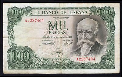 Spain; Banco de Espana. 1,000 pesetas. 17-9-1971. A2287404. (Pick 154b). F-VF.