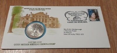 Queen Mother Birthday Coin Cover. Commemorative Crown and Stamp