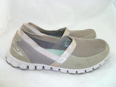 SKECHERS GO WALK 6.5 Used Grey Elastic FlatsWalk Comfort