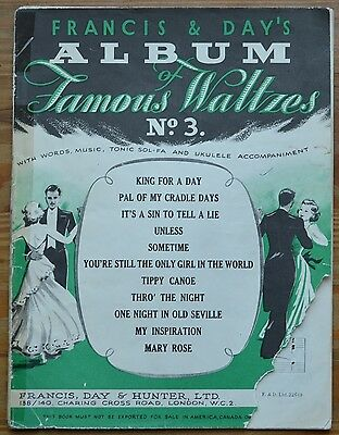 Francis & Day's Album of Famous Waltzes No.3 King For A Day, Sometime etc.1925