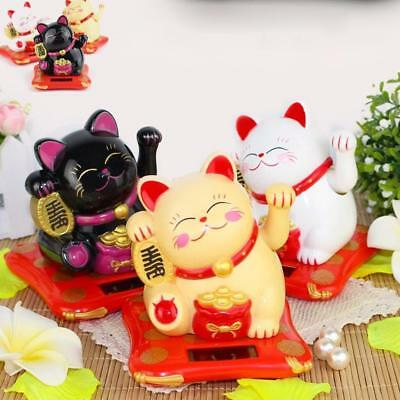 Solar Powered Feng Shui Maneki Neko Waving Paw Lucky Beckoning Fortune Cat