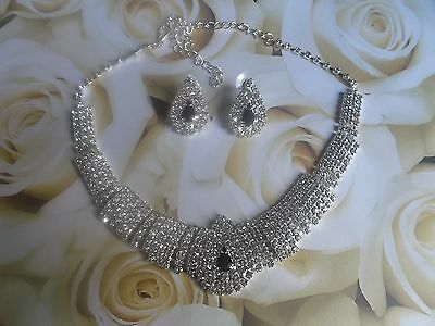 JS02 Wedding Prom Party Bridal Black Diamante Crystal Necklace Earrings Set  *30