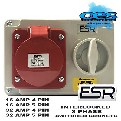 Interlocked Switched Socket 415Volt 16A 32A 4Pin 5Pin  Red Ip44 Surface 3 Phase
