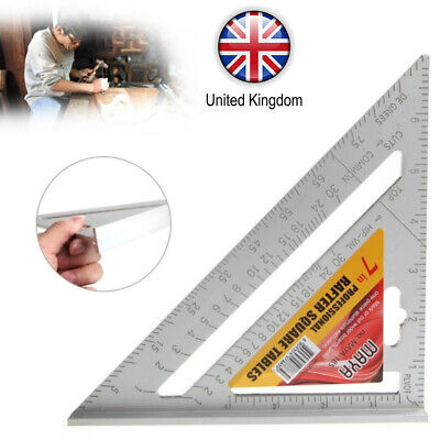 "7"" Roofing Speed Square Aluminium Alloy Rafter Angle Measure Triangle Guide Uk"