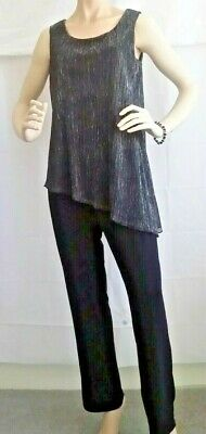NWT   Stunning Black/Metallic Pop-On Jumpsuit Size 10 Attached Top Sleeveless