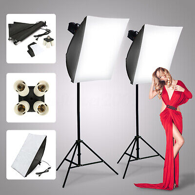2Pcs Photography Photo Studio Kit Lighting Softbox 50*70 + 4 in1 E27 Socket Lamp