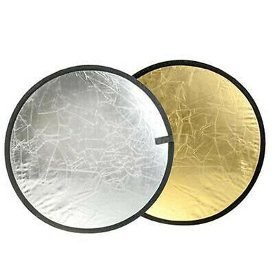 """2 in 1 24"""" Portable Light Mulit Collapsible Gold & Silver Reflector 60cm Photo ^"""