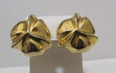 Chunky Vtg Signed C. STEIN Shiny Gold Tone 3D Soft Sculpted Clip Earrings