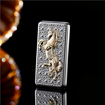 USB Electric Cigarette Rechargable Lighter Windproof Flameless Silver Horse