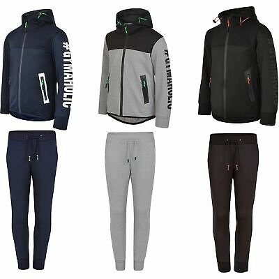 Kids Ripple Panel Tracksuit Boys Girls Hooded Top Trousers Neon Details 3-14 Y