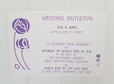 Personalised Charles Rennie Mackintosh Style Wedding/Evening Invitations L2