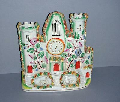 Old Staffordshire Flat China - House - Castle - Clock Tower - With Birds.