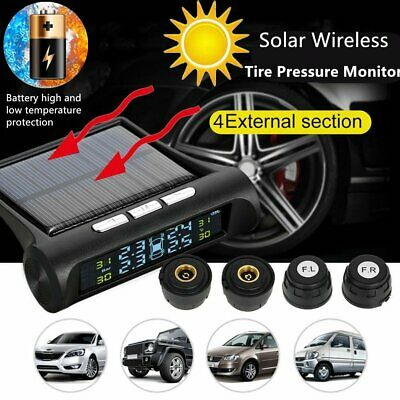 LCD Wireless Solar Power TPMS Tire Pressure Monitor System 4 Sensor For Car Auto