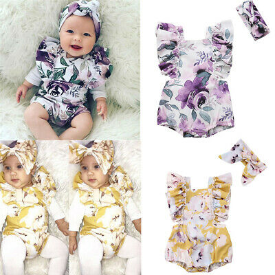 Newborn Toddler Baby Girl Floral Printed Romper Headband Bodysuit Clothes Outfit