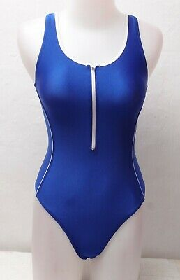 New Shiny Blue Racingback Thong Leotard with Front Zipper size 12 Medium