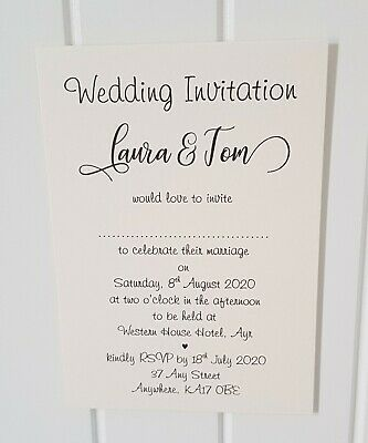 Personalised Wedding/Evening Invitations L5