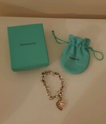 AUTHENTIC Tiffany & Co. 925 Sterling Silver Heart Tag Charm Bracelet 7.5in