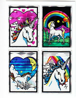 Vintage 80's Prism Unicorn Quad Sticker Sheet - Prismatic Rainbow Fantasy Moon