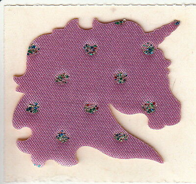 Very Rare Vintage June Kessler Satin and Glitter Lilac Purple Unicorn Sticker