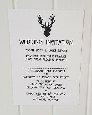 Personalised Stag Wedding/Evening Invitation Stags Head Scottish Theme L9