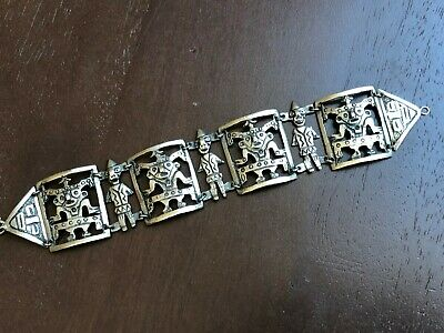 Vintage Solid 800 Silver Persian / India Bracelet with Figures
