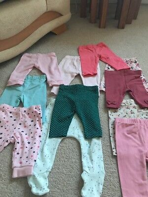 11 Pairs Of Baby Girls Legging Size 0/3 Months Various Makes