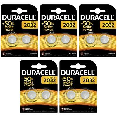 10 x Duracell CR2032 3V Lithium Coin Cell Battery 2032 DL2032, BR2032 for Keyfob