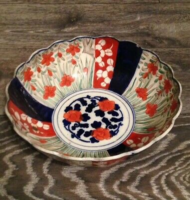 Japanese red & blue Imari - Victorian Meiji / Edo Period antique bowl