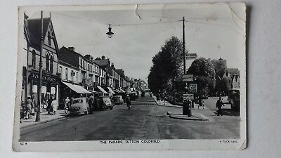 Vintage R Tuck RP PC The Parade Sutton Coldfield Warwickshire cars shops signs