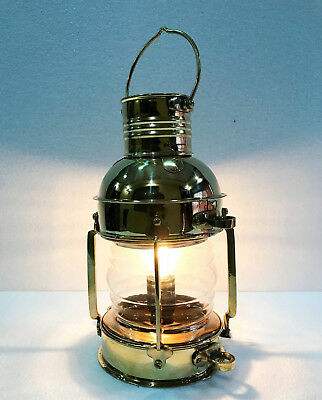 Vintage Brass Electric Lamp Maritime Ship Lantern Boat Light Decorative Decor